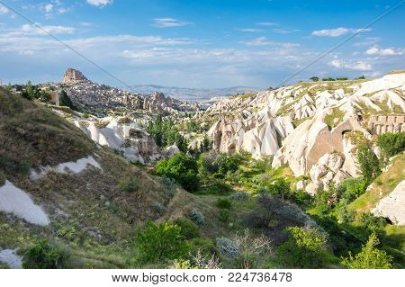 Pigeon valley and Ushisar castle in Cappadocia, Central Anatolia,Turkey
