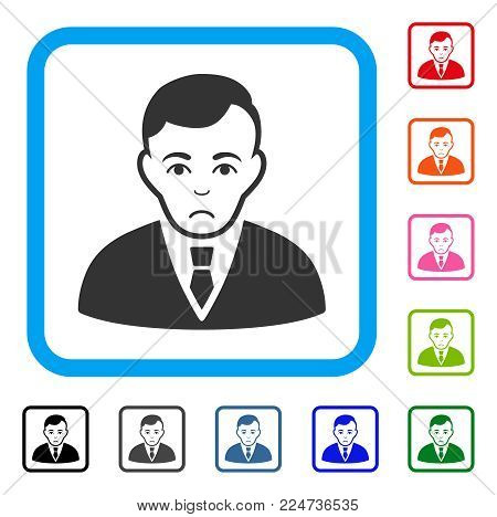 Unhappy Manager vector pictograph. Human face has mourning sentiment. Black, gray, green, blue, red, orange color variants of manager symbol inside a rounded frame.