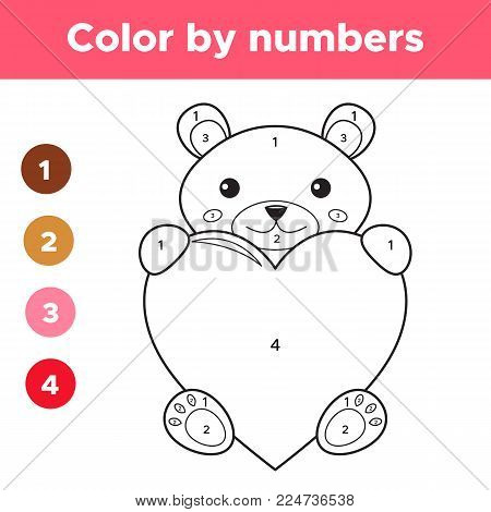 Color by numbers for preschool kids, Valentines day cartoon kawaii bear with heart, coloring page or book. Educational math game. Vector illustration.