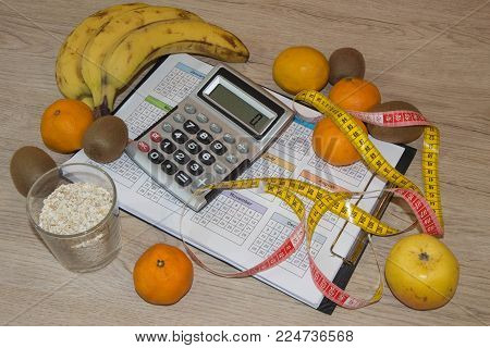 The idea of healthy diet, dietary breakfast. Losing weight with the help of a fruit diet. Low-calorie fruit diet