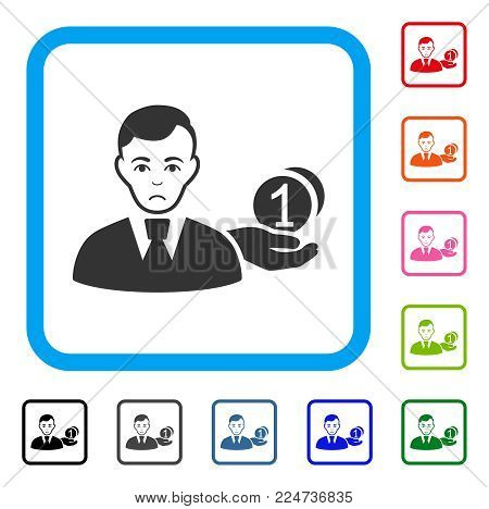 Sadly Money Payer vector pictograph. Human face has depressed expression. Black, grey, green, blue, red, pink color variants of money payer symbol in a rounded rectangle.