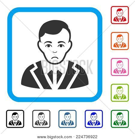 Dolor Noble Gentleman vector pictograph. Person face has sadly mood. Black, gray, green, blue, red, pink color versions of noble gentleman symbol in a rounded square.