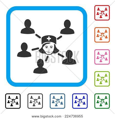 Sad Nurse Linked Patients vector icon. Human face has mourning emotion. Black, grey, green, blue, red, orange color variants of nurse linked patients symbol in a rounded square.