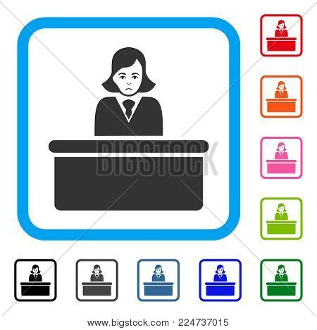 Sad Official Lady vector pictograph. Person face has dolor sentiment. Black, grey, green, blue, red, orange color versions of official lady symbol inside a rounded rectangle.