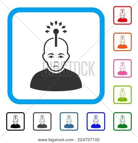 Sad Optical Neural Interface vector pictogram. Human face has depressed expression. Black, grey, green, blue, red, orange color versions of optical neural interface symbol in a rounded frame.