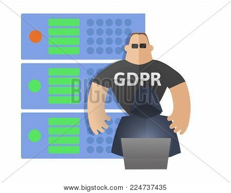 GDPR concept illustration. General Data Protection Regulation. The protection of personal data. Server, hacker and security guard. Vector, isolated on white background.