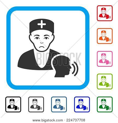 Sadly Psychotherapist Doctor Visit vector pictograph. Human face has sad sentiment. Black, gray, green, blue, red, pink color variants of psychotherapist doctor visit symbol in a rounded square.