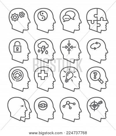 Psychology line vector icons set on white background