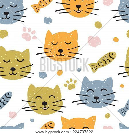 Childish seamless pattern with hand drawn cute cats. Scandinavian style. Childish texture for fabric, textile