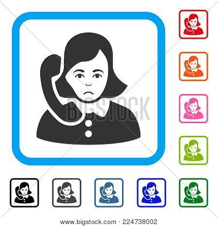 Dolor Receptionist vector icon. Human face has mourning mood. Black, gray, green, blue, red, orange color versions of receptionist symbol in a rounded frame.