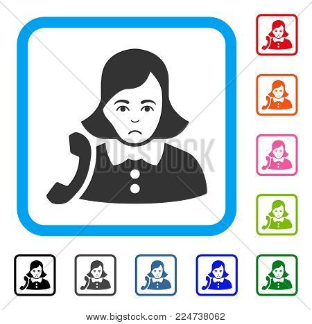 Sadly Receptionist Woman vector pictogram. Human face has problem sentiment. Black, grey, green, blue, red, pink color versions of receptionist woman symbol inside a rounded square.