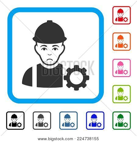 Sad Repairman vector pictograph. Person face has dolor sentiment. Black, grey, green, blue, red, orange color variants of repairman symbol in a rounded square.