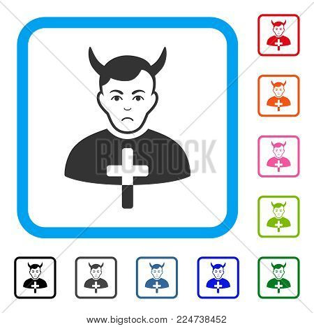 Sad Satan Priest vector pictogram. Human face has problem expression. Black, grey, green, blue, red, pink color versions of satan priest symbol inside a rounded frame.