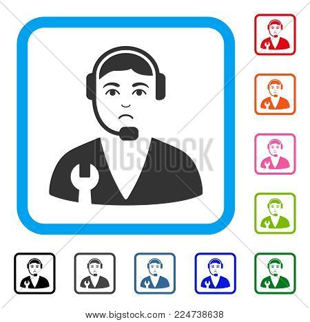 Dolor Service Operator vector pictogram. Human face has grief feeling. Black, gray, green, blue, red, orange color variants of service operator symbol in a rounded frame.