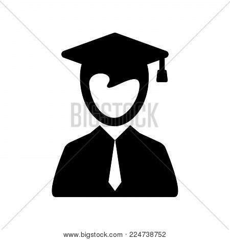 Graduate Student Icon Isolated On White Background. Graduate Student Icon Modern Symbol For Graphic