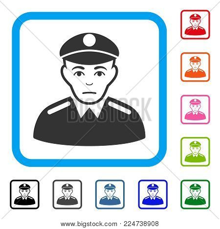 Dolor Soldier vector pictograph. Human face has stress expression. Black, gray, green, blue, red, orange color versions of soldier symbol in a rounded frame.