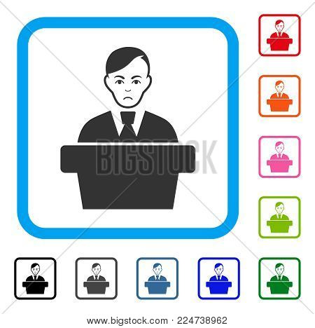 Sadly Speaker Gentleman vector pictogram. Person face has desperate sentiment. Black, grey, green, blue, red, pink color versions of speaker gentleman symbol in a rounded squared frame.