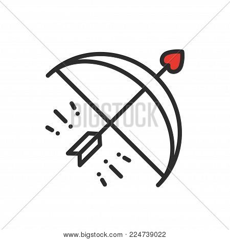 Cupid bow arrow line icon. Happy Valentine day sign and symbol. Love, couple, relationship, dating, wedding, holiday, romantic amour theme. Heart shape