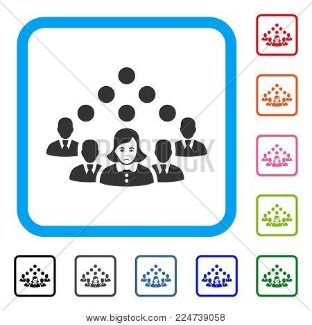 Pitiful Staff Team vector pictogram. Human face has unhappy sentiment. Black, gray, green, blue, red, pink color variants of staff team symbol inside a rounded square.