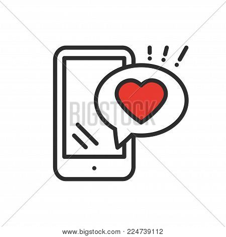 Smartphone with heart emoji message on screen line icon. Love confession like sign and symbol. Love relationship holiday romantic messaging smartphone mobile phone sms message theme