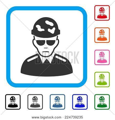 Swat Soldier vector pictogram. Person face has desperate mood. Black, grey, green, blue, red, orange color variants of swat soldier symbol inside a rounded rectangular frame. poster