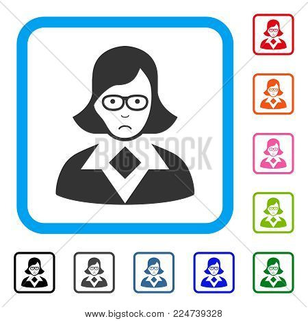Sadly Teacher Lady vector pictograph. Person face has affliction feeling. Black, grey, green, blue, red, orange color variants of teacher lady symbol inside a rounded rectangular frame.