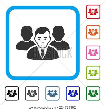 Pitiful Team vector pictograph. Human face has dolor mood. Black, grey, green, blue, red, orange color variants of team symbol inside a rounded squared frame.