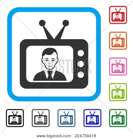 Sadly TV Dictor vector icon. Human face has affliction feeling. Black, grey, green, blue, red, orange color versions of tv dictor symbol in a rounded rectangle.