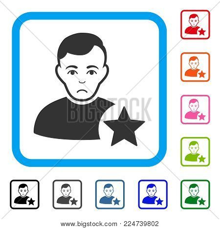 Dolor User Rating Star vector pictogram. Person face has dolour sentiment. Black, gray, green, blue, red, pink color versions of user rating star symbol in a rounded squared frame.