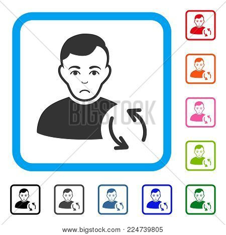 Sadly User Refresh vector pictograph. Person face has depressed expression. Black, gray, green, blue, red, pink color versions of user refresh symbol inside a rounded square.