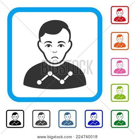 Sad User Stats vector pictogram. Human face has depression sentiment. Black, grey, green, blue, red, orange color variants of user stats symbol inside a rounded rectangular frame.