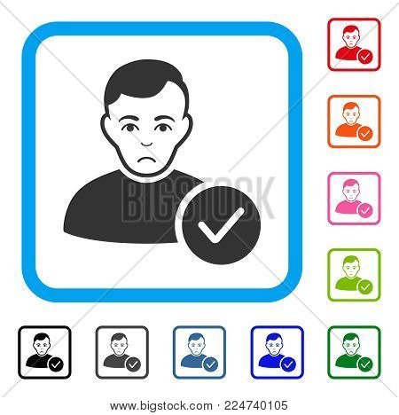 Sad User Valid vector icon. Human face has desperate sentiment. Black, gray, green, blue, red, pink color variants of user valid symbol inside a rounded squared frame.