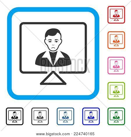 Unhappy Video Contact vector pictograph. Person face has sadly emotions. Black, grey, green, blue, red, orange color variants of video contact symbol in a rounded rectangular frame.