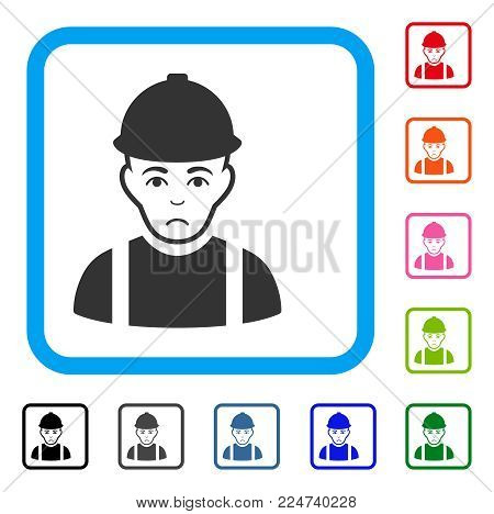 Dolor Worker vector icon. Human face has dolor feeling. Black, gray, green, blue, red, pink color versions of worker symbol inside a rounded frame.