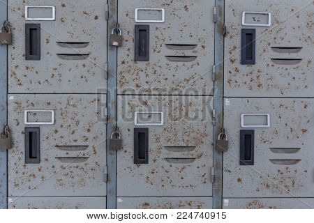 Rusted old cabinet or locker in the school