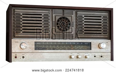 Old Fm Tuner Radio Isolated On White Background