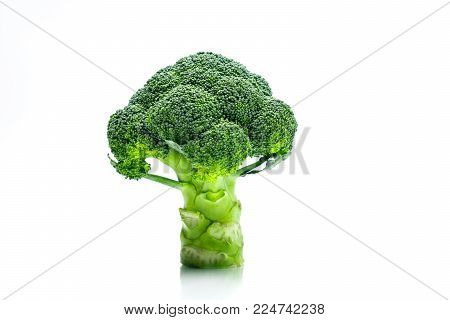 Green broccoli (Brassica oleracea). Vegetables natural source of betacarotene, vitamin c, vitamin k, fiber food, folate. Fresh broccoli cabbage isolated on white background with copy space.