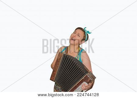 the girl with the accordion in the women's day isolates, an international holiday