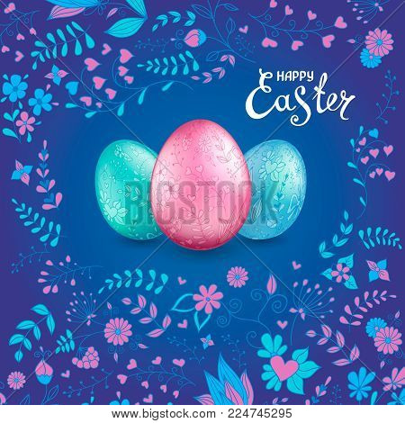 Three shiny easter vector photo free trial bigstock three shiny easter eggs pastel colors on a dark blue background with floral hand drawn pattern m4hsunfo
