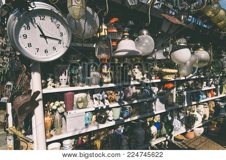 Como, Italy - September 30th, 2017: Antiques for sale to bargain hunters in a shop in Italy