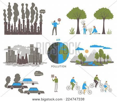 Air Pollution. Ecology Problem Concept. Factories And Cars Pollute The Environment. Vector Illustrat