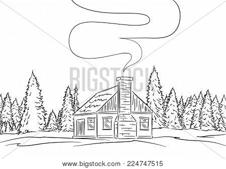 Vector illustration: Hand drawn landscape with house and pine forest. Sketch line design