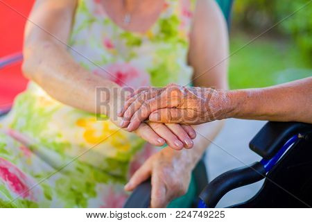 Holding Hand Supporting For Vitality Of Handicapped Pensioner.