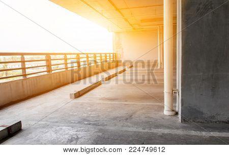 empty indoor parking car garage on morning
