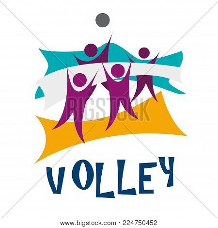 Vector illustration beach volley in abstract shape