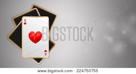 Casino banner with one heart ace in four playing card on grey background. Winning poker hand