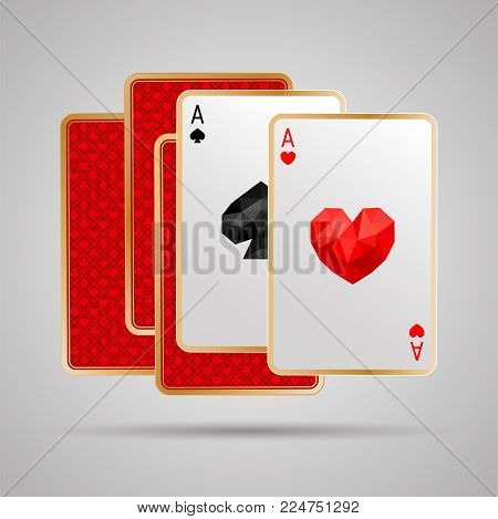Two aces in five playing card. One pair. Winning poker hand. JPG include isolated path