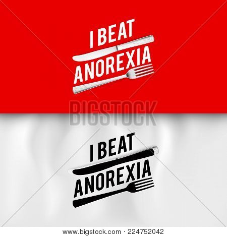 I Beat Anorexia: Ironic Slogan with Fork and Knife on White and Red Background