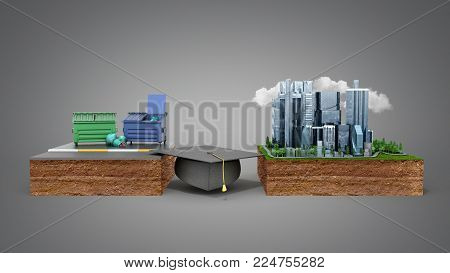 Education career opportunities concept The graduate's hat as a bridge from poverty to success 3d render on grey