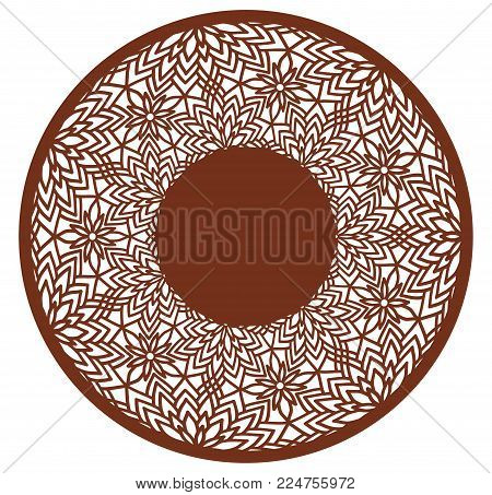 Vector Stencil lacy round frame with carved openwork pattern. Template for interior design, layouts wedding invitations, gritting cards, envelopes, decorative art objects etc. Image suitable for laser cutting, plotter cutting or printing. Stock vector